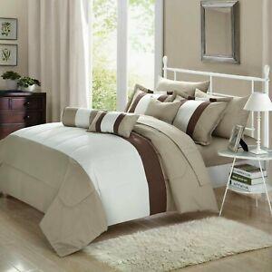 Serenity Beige & Tan 10 Piece Comforter Bed In A Bag Set