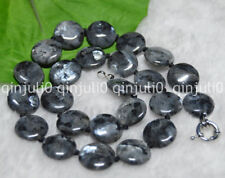 """Natural 16mm Coin Black Gray Labradorite Gems Beads Jewelry Necklaces 17.5""""JN545"""