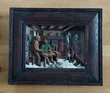 More details for antique victorian? carved wood diorama.inn/tavern scene with poachers/hunting.