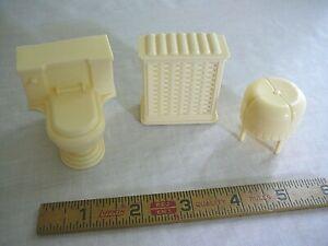 Vintage Marx Mar Toys Dollhouse Ivory White Bathroom Laundry Hamper Toilet Chair