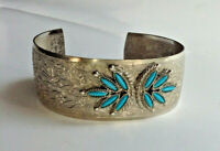 Vintage faux silver turquoise detailed southwest estate jewelry cuff bracelet!