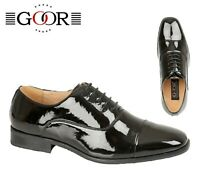 MENS SMART - Shiny Black Patent Evening Oxford Tie Shoes - Size 6 7 8 9 10 11 12