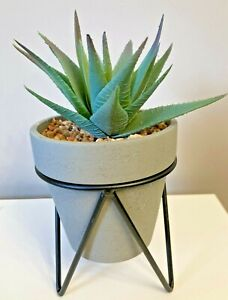 Artificial Succulent Agave Plant In Tripod Grey Resin Pot Height 18cm