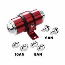 30 Micron Red Billet Aluminum Inline Fuel/Petrol Filter+Bracket An6/An8/An10
