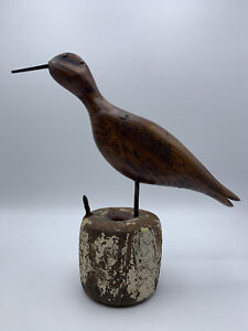 Vintage Collectible Wood Carved Curlew Shore Bird Decoy Signed