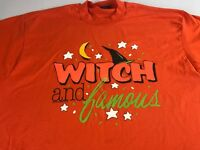 Witch And Famous T-Shirt VTG Mens XL Tall Long Broom Halloween USA Made Orange