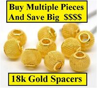 18k Yellow Gold Spacers For 5mm Large Hole DIY Bracelets - Bangle - Chain