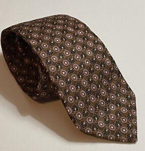 Ermenegildo Zegna 100% Silk Brown Floral Tie