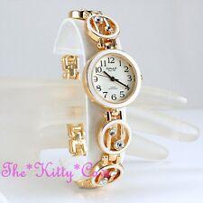 Omax Damas Retro Esmalte Blanco Oro pltd Suizo Marca Seiko Reloj cristalino jhs434