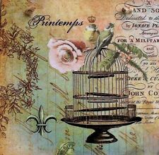 Rustic Wooden Shabby Chic Decoupaged Picture plaque.Vintage Birdcage and Roses