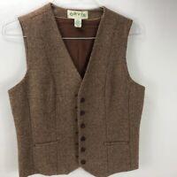Vintage Orvis Women's Lined Wool 2 Piece Vest Pants Suit Tan Herringbone Size 10