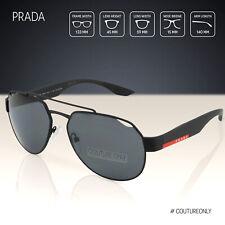 PRADA SPORT Men Aviator Sunglasses SPS-57U Black Rubber Frame Gray Polarized