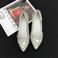 Womens Pointed Toe Wedding Shoes Flat  Rhinestone Bridal Shoes Slip On Loafers