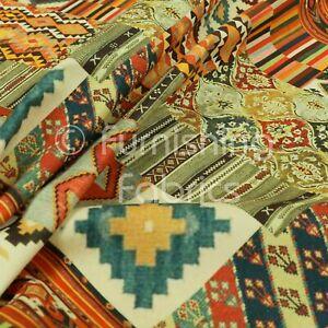 Kilim Aztec Patchwork Pattern Velour Velvet Printed Upholstery Curtain Fabrics