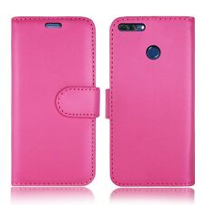 Plain Pink Leather Wallet Book Protect Phone Case for Apple iPhone 4 5 6 7 8 & X Huawei Huawei Y6