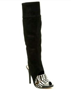 Guess Condolan3 Black Multi Open Toe Synthetic Over the Knee Boot SZ 7 M New