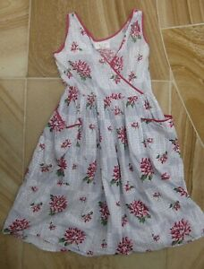LAZYBONES cotton dress sz M floral print + pockets grey red white pink