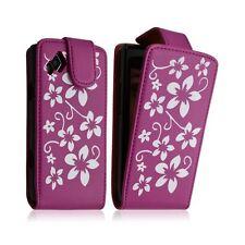 Housse coque étui pour Samsung Wave 2 S8530 motif fleur couleur rose fushia