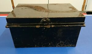 Vintage Metal Deed Box Safety Deposit Box With Handles by Holmes & Son London E1