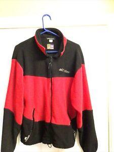 Ski-doo BRP Snowmobile Zip Front Jacket Red/Black Fleece Sweater  XL Vintage
