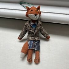 Anthropologie felt fox in tweed suit animal decoration ornament soft toy hanging