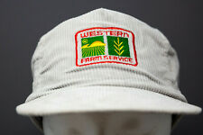 Vintage Western Farm Service Embroidered Patch Corduroy Hat Gray Leather Strap
