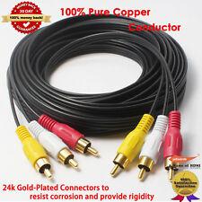 7.6M Gold 3RCA Male / Male Composite Audio Video TV Adapter Cable Cord HDTV HIFI