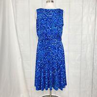 Jessica Howard Women's Sz 16 XL Dress Blue Green Print Fit Flare Sleeveless #a