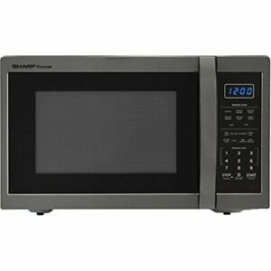 Black Efficient Stainless Steel 100 Watt Countertop Microwave-sharp