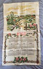 VTG 1961 LINEN Cloth FABRIC Towel HANGING Wall CALENDER Farm Scene IRMA PAUL