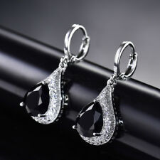HUCHE Drop Black Sapphire Crystal White Gold Filled Lady Dangle Hoop Earrings