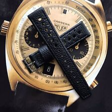 20mm Black Leather Perforated Watch Strap For Tag Heuer Carrera Autavia Corfam