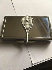 Tennis Ball On Bat TG224 Fine English Pewter On Mirrored 7 Day Pill box Compact
