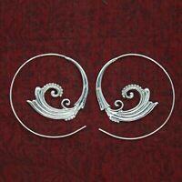 Creolen Durchzieher Ohrringe Echt Silber 925 Spirale Elfen Schmuck Tribal  ETS