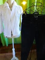 lot femmeT3==2piéces noir  -blanc ==pantalon et corsage ,broderie anglaise T3