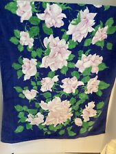 Vintage Fieldcrest Velor Blue With Pink Flowers Bath Towel 70's