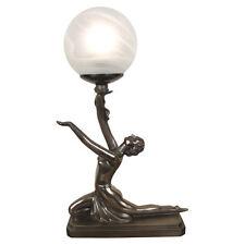 TABLE LAMP ART DECO/NOUVEAU BRONZE FINISH KNEELING GIRL FIGURINE GLASS SHADE