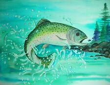 Art Note Cards set/4, TROUT gift cards by Trina Silva