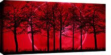"LARGE RED & BLACK MODERN LANDSCAPE CANVAS PICTURE 40"""