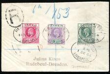 GAMBIA 1902 28-29,35 auf schönem R-BRIEF via LIVERPOOL LONDON RADEBEUL(S8917