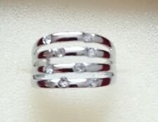 NEW - Sterling Silver 8 White Sapphire 4 band Ring Size UK Q US 8