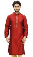 Atasi Men's Maroon Kurta Pyjama Set Chemise Longue Fete Vetements-uBs