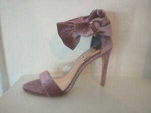 Ted Baker Torabel UK 5 Pink Velvet Sandals Heels Bridal Bow Open Toe RRP 130
