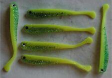 6 leurres souples jaune ventre pailleté pêche perche black bass truite 8cm