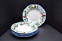 "4 FITZ AND FLOYD FF RICAMO HAND PAINTED Tuscan MOTIF 10"" Pasta Soup Salad Bowls"