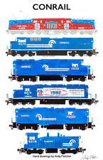 "Conrail Locomotives 11""x17"" Railroad Poster by Andy Fletcher signed"