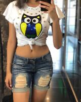 🔥Summer Women's Short Sleeves Owl Sequins Beaded Casual Club White T-shirt