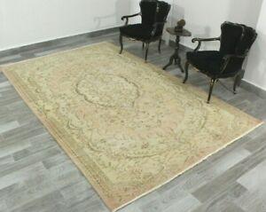 Pale Vintage Area Rug Anatolian Handwoven Turkish Ethnic Floral Carpet 6x10 ft