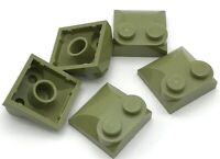 Lego 5 New Olive Green Bricks Modified 2 x 2 x 2/3 Two Studs Curved Slope End