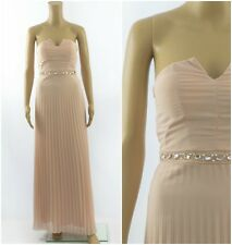 Elise Ryan Embellished Bandeau Maxi Pleated Nude Bridesmaid Occasion Dress
